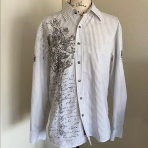 Roar Striped Kingdom Cross Button Down Shirt